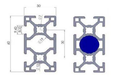 نقشه پروفیل آلومینیوم شیاردار مهندسی 60x30