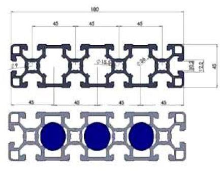 نقشه پروفیل آلومینیوم شیاردار مهندسی 45x180