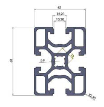 نقشه پروفیل آلومینیوم شیاردار مهندسی 45x60