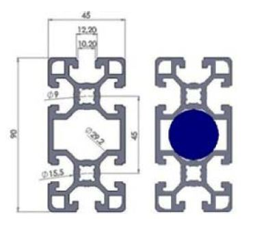 نقشه پروفیل آلومینیوم شیاردار مهندسی سنگین 45x90