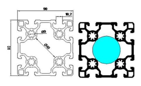نقشه پروفیل آلومینیوم شیاردار مهندسی 90x90