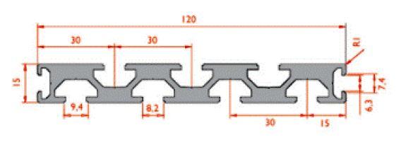 نقشه پروفیل آلومینیوم شیاردار مهندسی 15x120