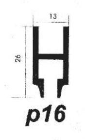 پروفیل آلومینیوم پارتیشن p16