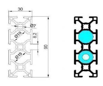 نقشه پروفیل آلومینیوم شیاردار مهندسی 30x90