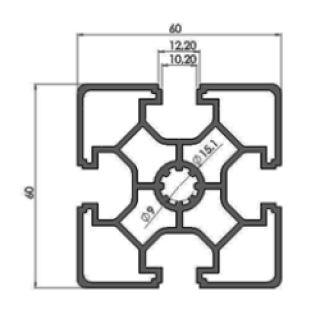 نقشه پروفیل آلومینیوم شیاردار مهندسی 60x60