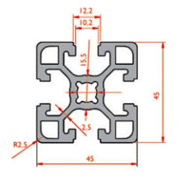 نقشه پروفیل آلومینیوم شیاردار مهندسی سنگین 45x45