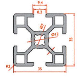 نقشه پروفیل آلومینیوم شیاردار مهندسی سبک 35x35